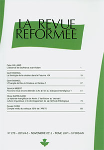revue réformée, peter williams, gert kwakkel