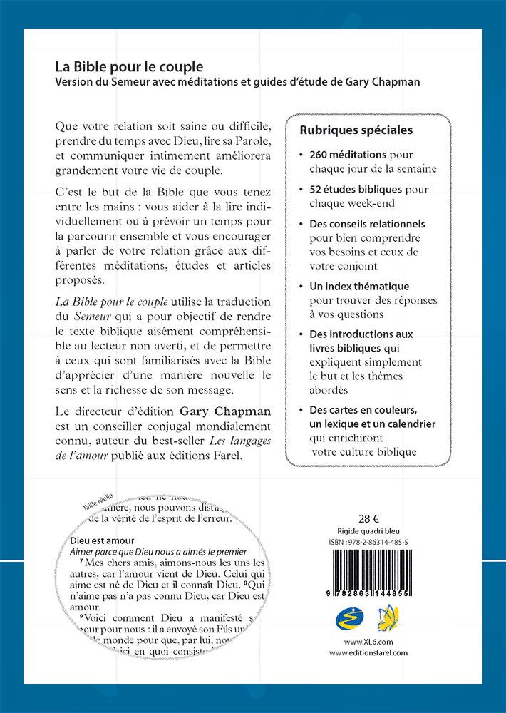 Calendrier Biblique.La Bible Pour Le Couple Couverture Rigide Bleue Version