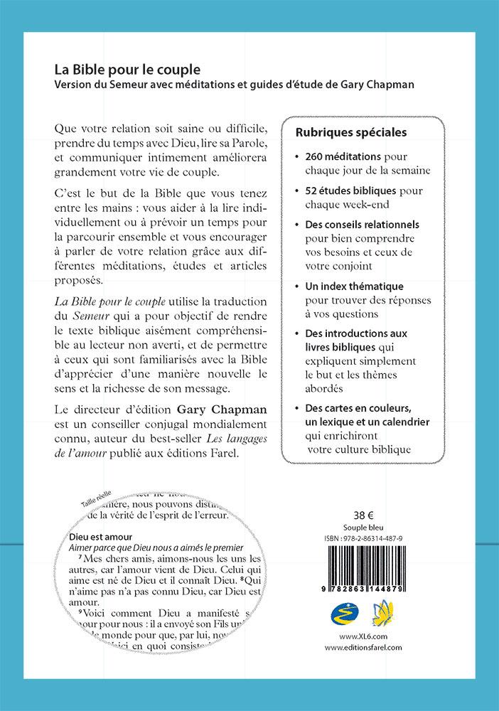 Calendrier Biblique.La Bible Pour Le Couple Couverture Souple Bleue Version